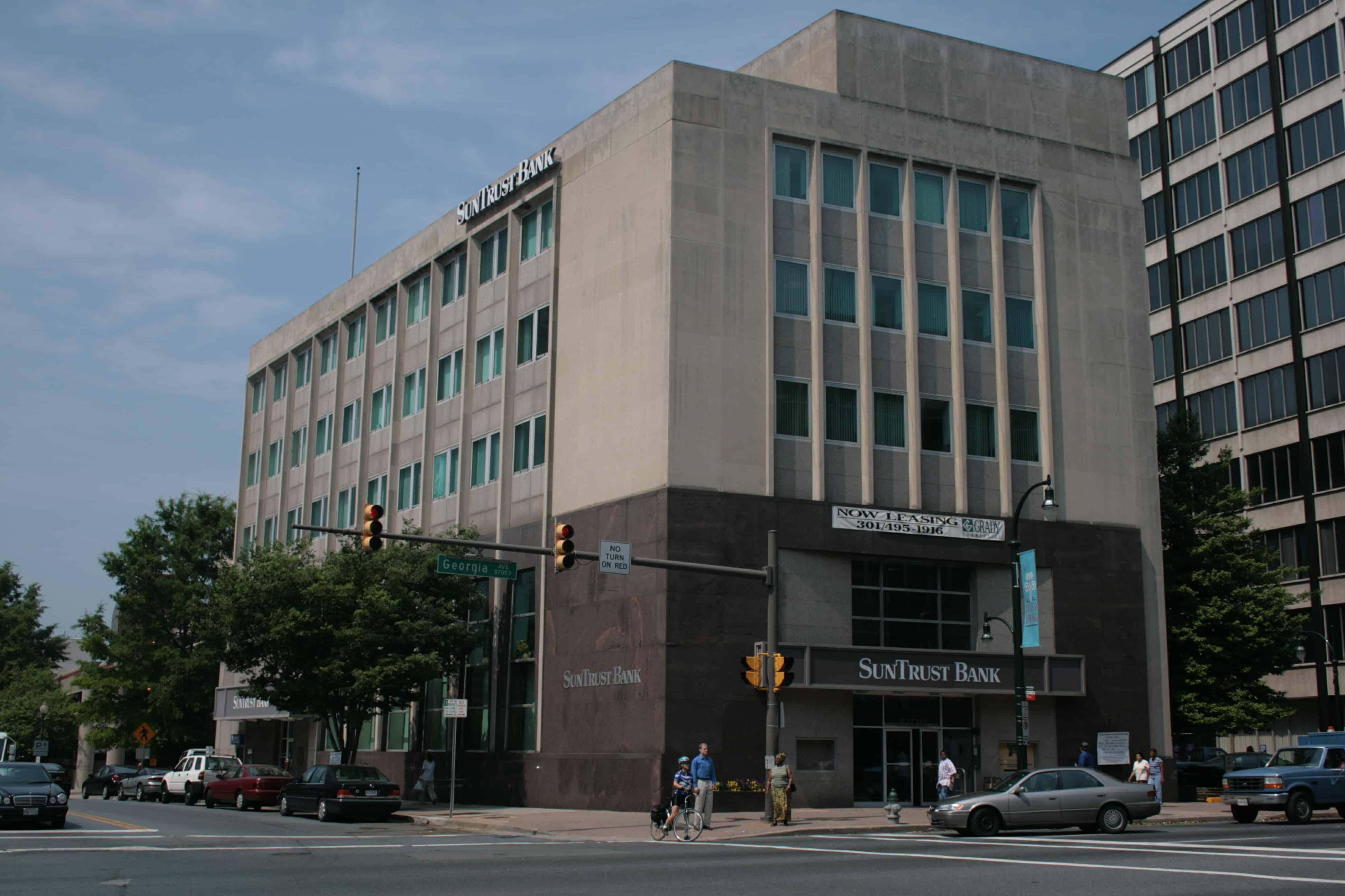 An image of the Perpetual Building Association's Silver Spring Branch. It was constructed in 1958. It is considered a an excellent example of modern and coroporate architecture. This site was selected for Endangered Maryland in 2011.